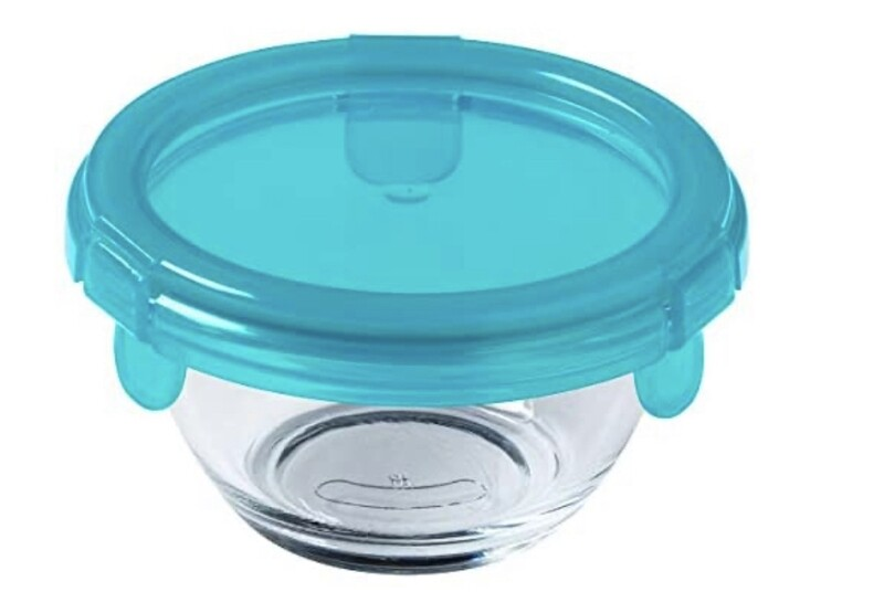 PYREX PLATINUM -My First Pyrex+ 200ml Round Dish, with Blue BPA Free Plastic lid