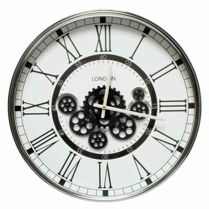 TQ-Y671 - CHILLI TEMPTATIONS: D50cm Round London Modern Exposed Gear Clock - Black W/ White