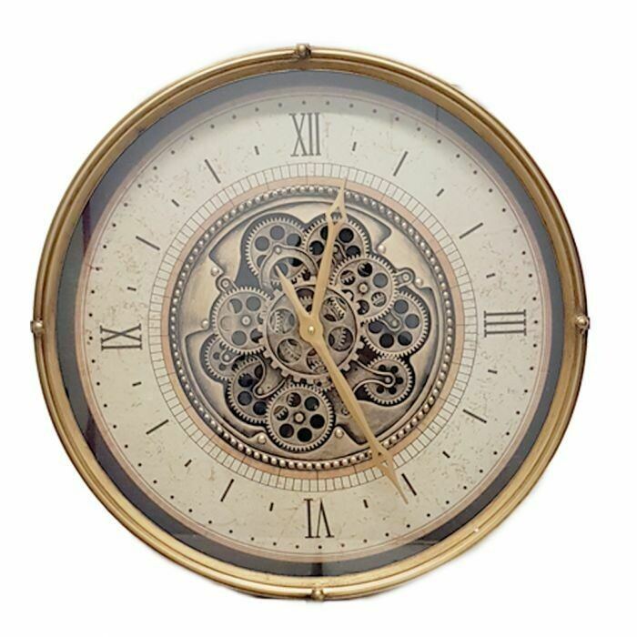 TQ-Y678 - CHILLI TEMPTATIONS: D60cm Round Milan Exposed Gear Movement Wall Clock - Gold And Cream