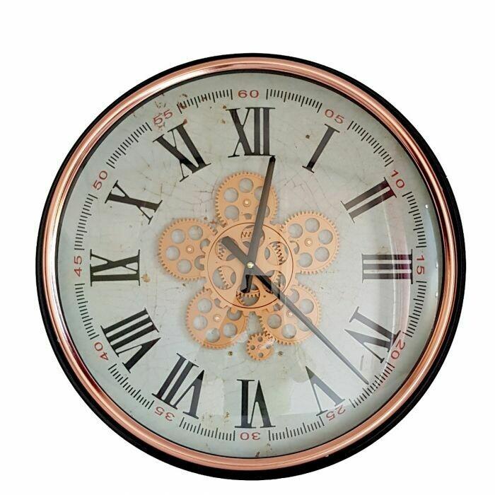 TQ-Y683 - CHILLI TEMPTATIONS:  D53cm Round Domonique Exposed Gear Movement Wall Clock - Rose Gold W/Black
