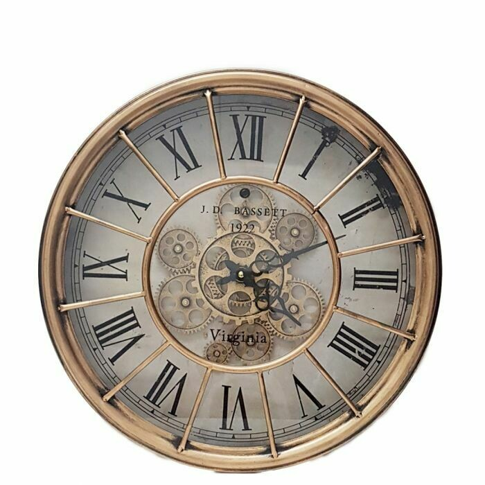 TQ-Y685 - CHILLI TEMPTATIONS: D47cm Round Basset Exposed Gear Movement Wall Clock - Copper