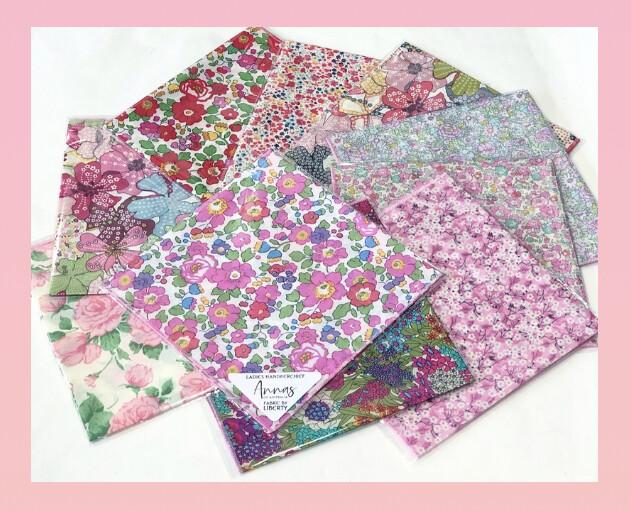 LIBERTY ART FABRICS-Ladies Fine Cotton  Handkerchiefs   - Assorted Colours