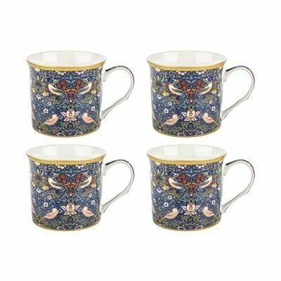 NOSTALGIC CERAMICS - Fine China Strawberry Thief Mug 270ml Set of 4 - Blue