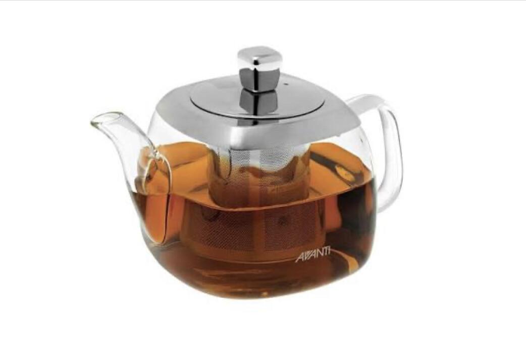 AVANTI- 700ml Quadrate Square Glass Teapot w Stainless Steel Infuser