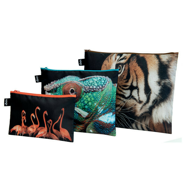 LOQI-S/3 National Geographic Zip Travel Bags -  Tiger/ Chameleon/ Flamingos