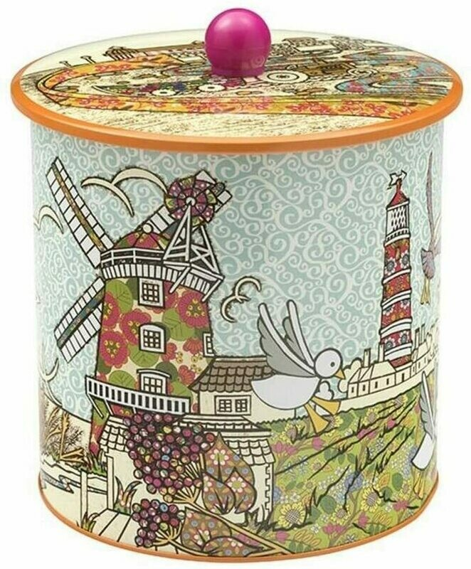 "TINCO-Vacuum Seal Biscuit Tin Barrel-Amelia Bowman ""Coast&Windmills Design"