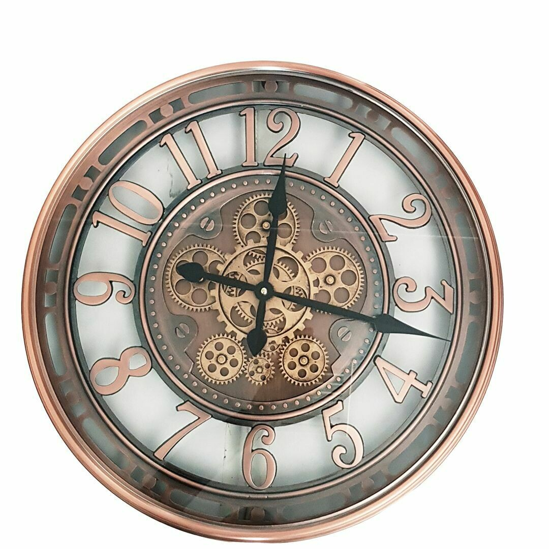 TQ-Y693 - CHILLI TEMPTATIONS: D55cm Round Lucas Industrial Exposed Gear Movement Clock - Copper Wash