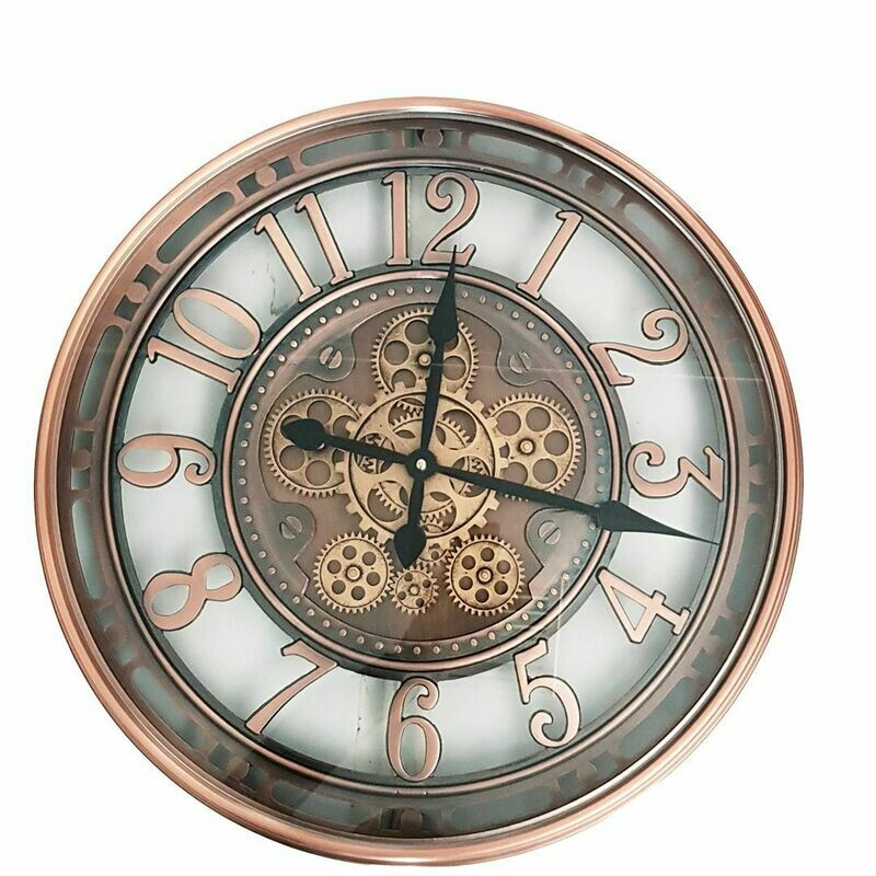 TQ-Y693 - CHILLI TEMPTATIONS: D55cm Round Lucas Industrial Exposed Gear Movement Clock - Copper Wash