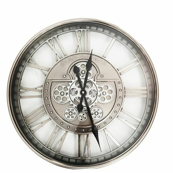 TQ-Y695 - CHILLI TEMPTATIONS: D55cm Round Lucas Industrial Exposed Gear Movement Clock - Silver Wash