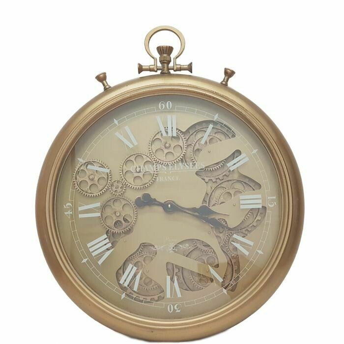 TQ-Y637 - CHILLI TEMPTATIONS:  D52cm French Chronograph Round Exposed Gear Movement Wall Clock - Gold