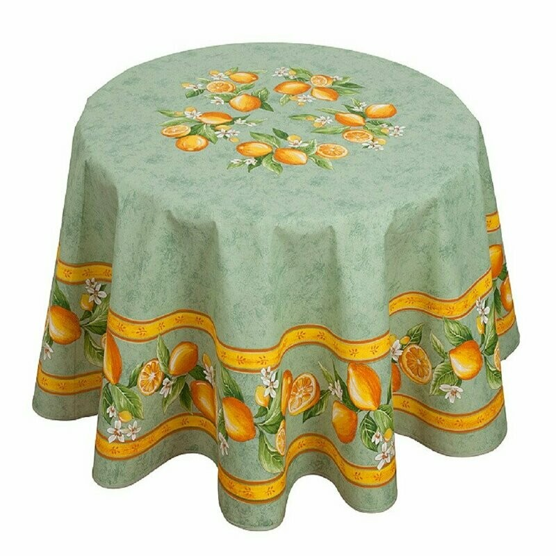 "FRENCH LINEN - ""CITRON"" GREEN ROUND COTTON TABLECLOTH 180CM DIAMETER"
