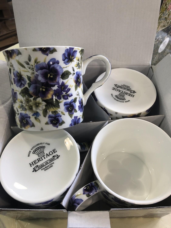 HERITAGE - Fine English Bone China Pansy Mugs set of 4