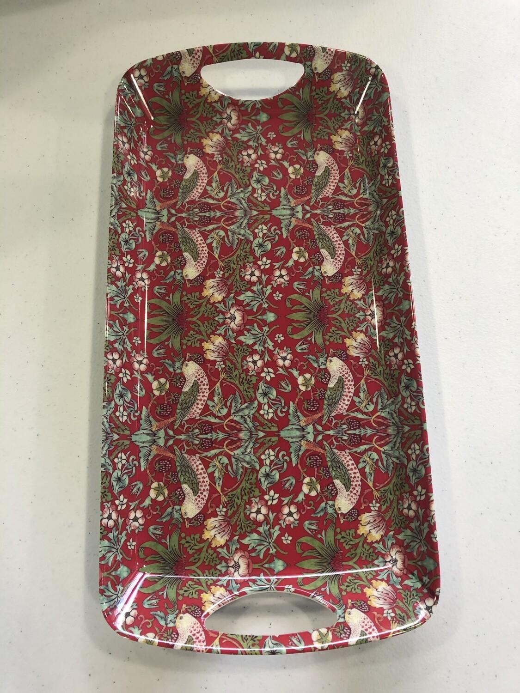 NOSTALGIC CERAMICS - Sml Luxury Tray Strawberry Thief Red (41cm x 20cm)