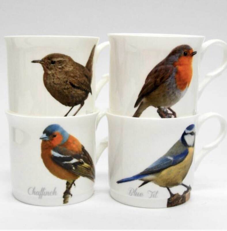 HERITAGE -  Set of 4 Bone China Mugs - s/4 Princess Mug - Garden Birds