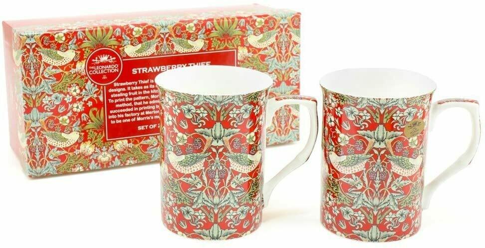 NOSTALGIC CERAMICS- Fine China Gift Boxed William Morris Strawberry Thief x 2 Mugs