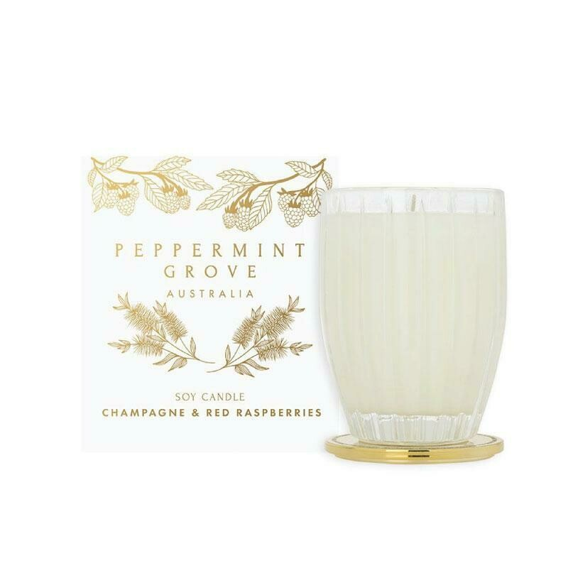 PEPPERMINT GROVE-Soy Candle-Champagne & Red Raspberries- 350g