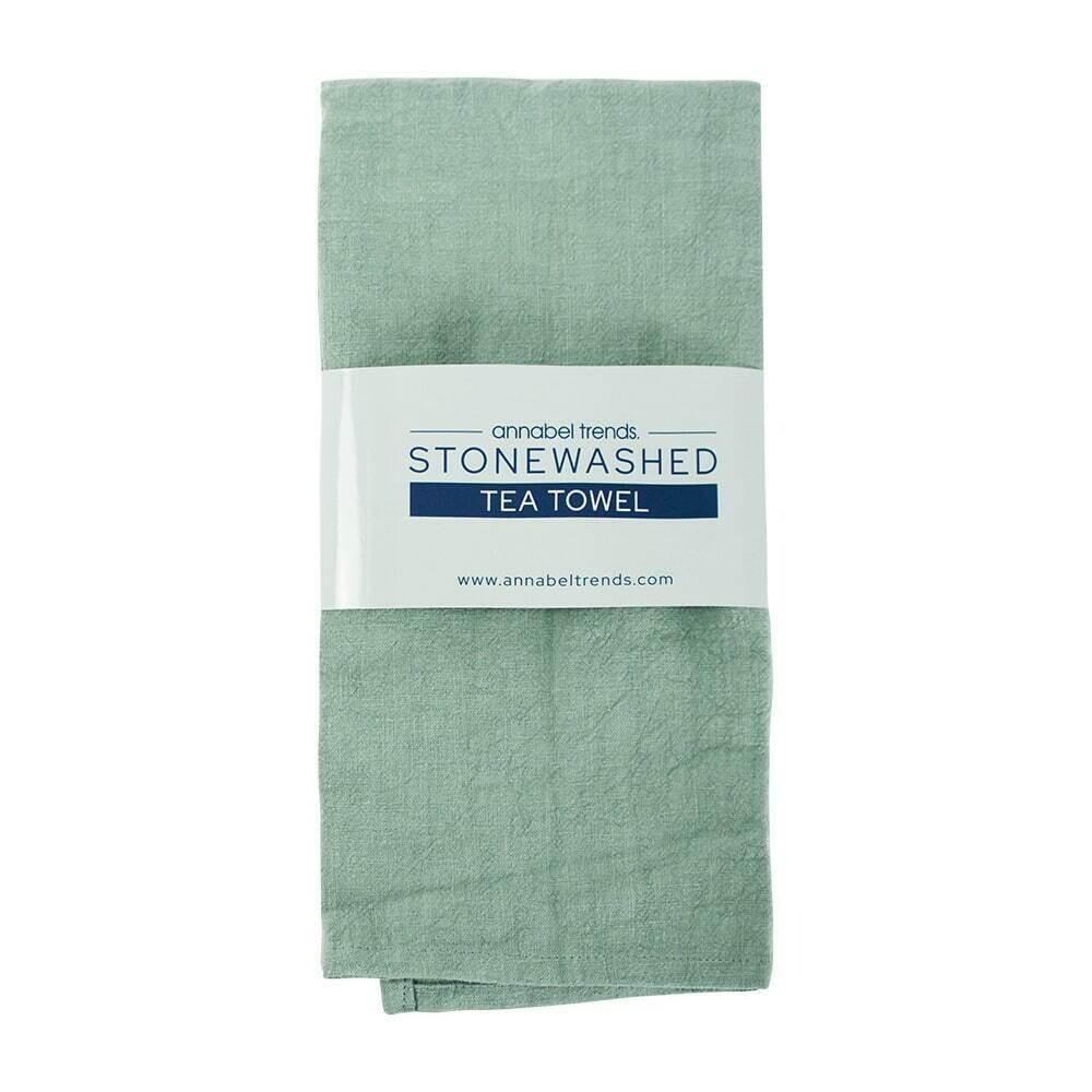 ANNABEL TRENDS -Stonewashed – Sage Tea Towel - 69.5 cm x 51.5 cm
