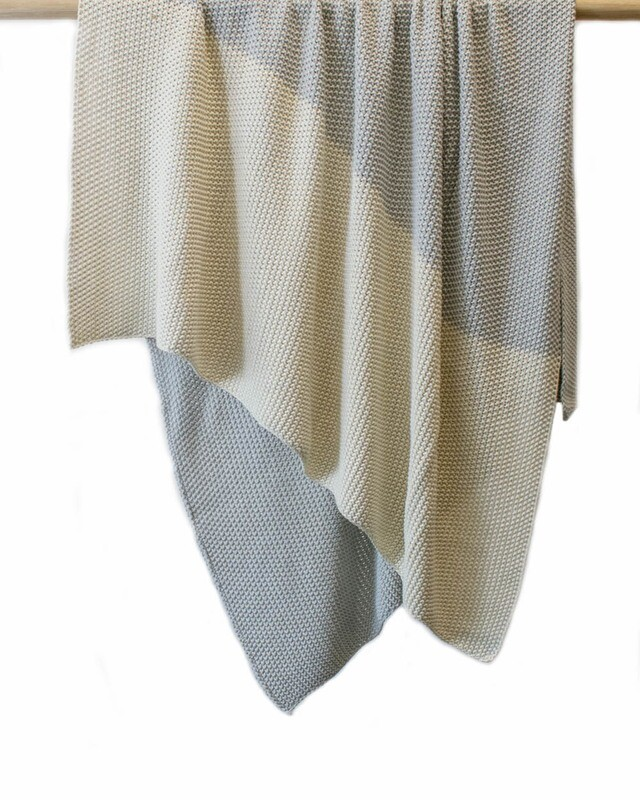 INDUS DESIGN - Moss Stitch Throw Lt Grey/Natural
