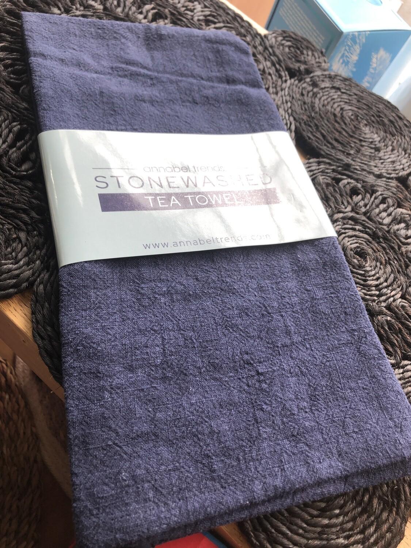 ANNABEL TRENDS -Stonewashed – Tea Towel  navy - 69.5 cm x 51.5 cm