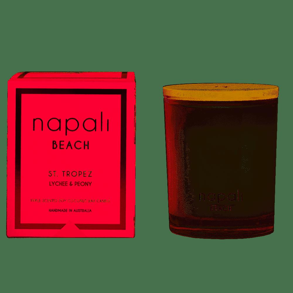 NAPALI BEACH-ST TROPEZ-Soy/Coconut Wax Candle- Lychee & Peony-400g