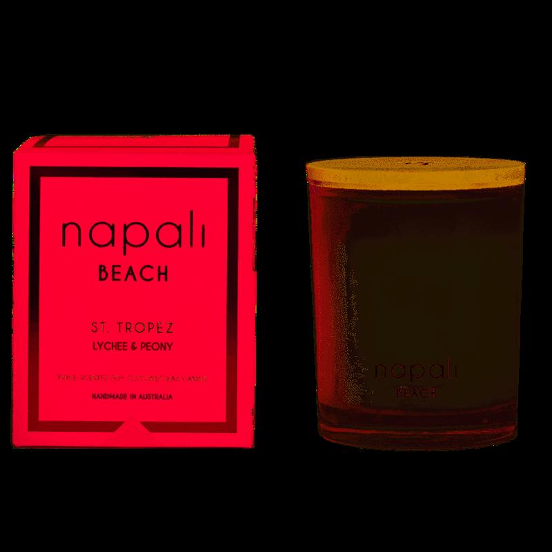 NAPALI BEACH-ST TROPEZ-Soy/Coconut Wax Candle- Lychee & Peony-160g