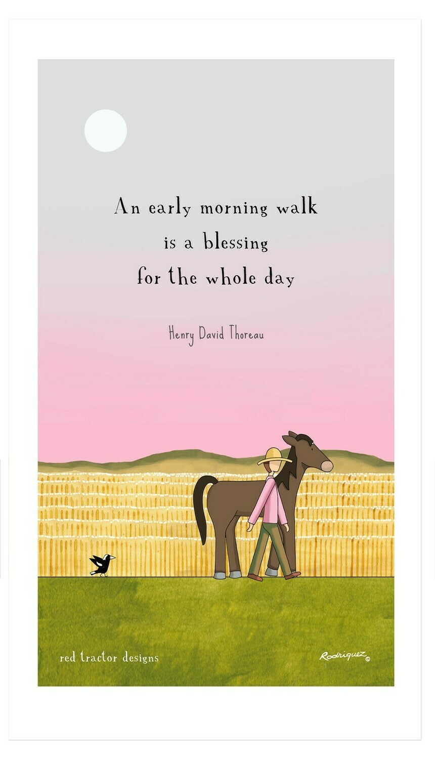 RODRIGUEZ Tea Towel - Red Tractor Designs - An Early Morning Walk