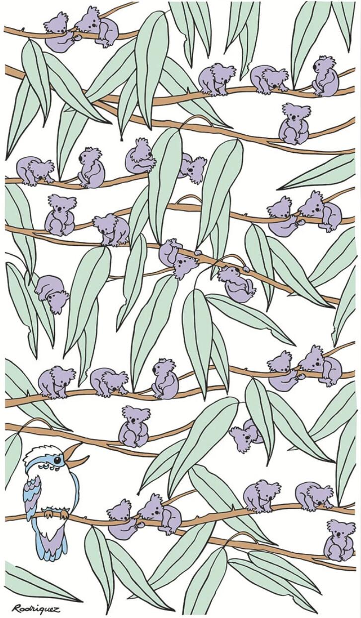 RODRIGUEZ Tea Towel - Koalas and Kookaburras