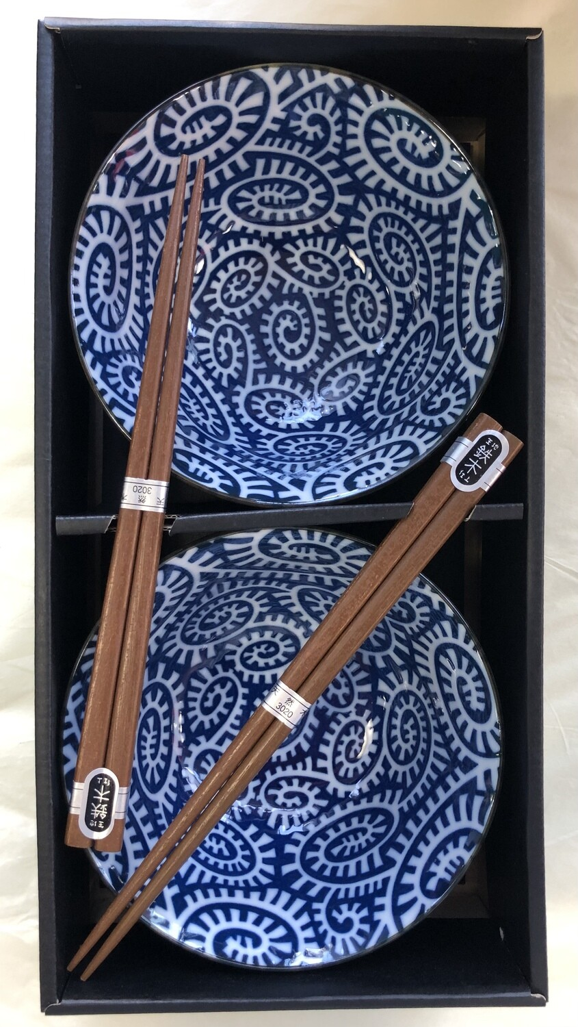 CONCEPT JAPAN - Takokarakusa Blue Set of 2 Bowls and Chopsticks 14.5cm