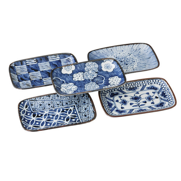 CONCEPT JAPAN - Somekoubou 5pce  Rectangular Plate Set 16.5 x 11 x 2cm