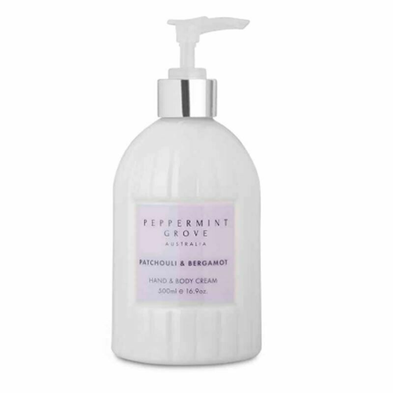 PEPPERMINT GROVE -Patchouli/  Bergamot Hand and Body Cream 500ml