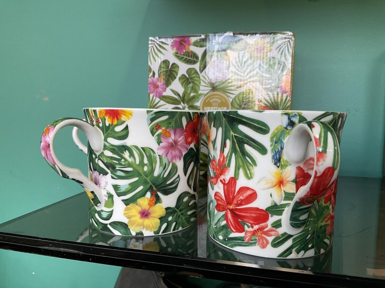HERITAGE -  Fine Bone China Tropical Leaves Mug 400ml Set of 4