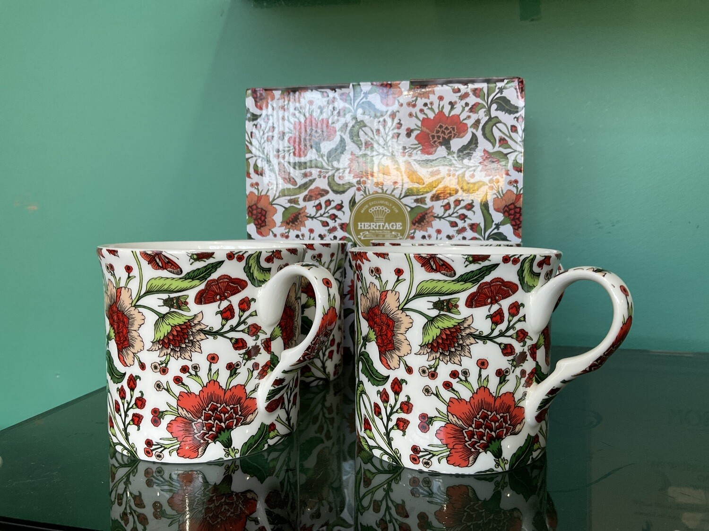 HERITAGE -  Fine Bone China Oriental Peony Mug 400ml Set of 4
