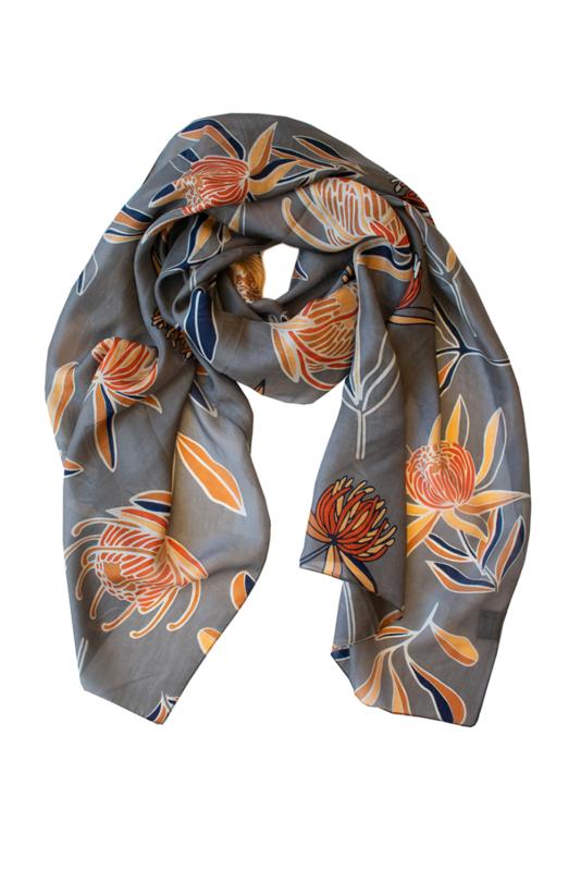 INDUS DESIGN - Waratah Silk Scarf  50x170cm