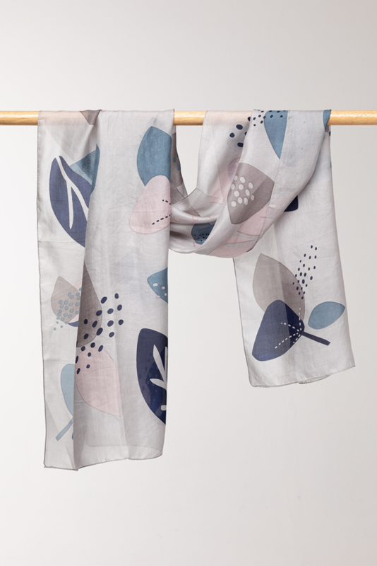 INDUS DESIGN - Abstract Floral Silk Scarf  50x170cm