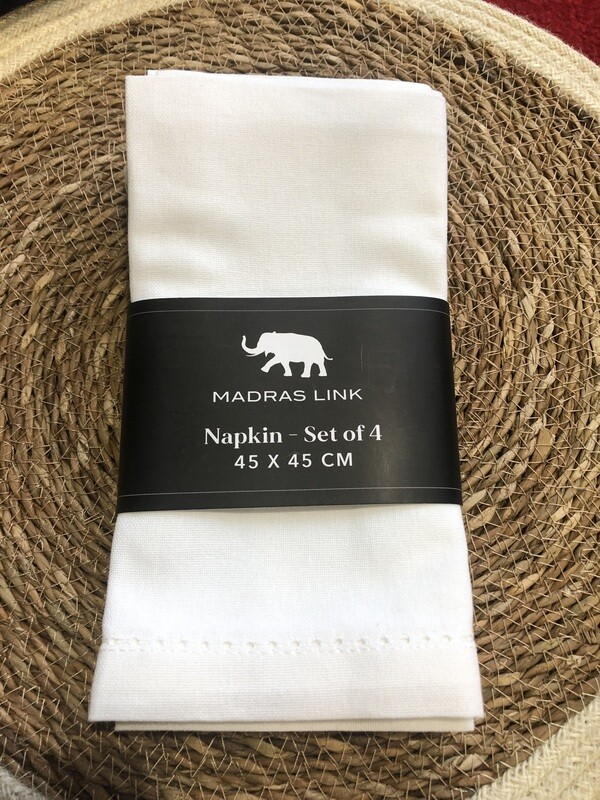 MADRAS LINK -  White Napkin - Set of 4