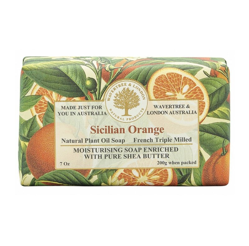 WAVERTREE&LONDON- Sicilian Orange Soap Bar (enriched w. pure sheabutter-200g/7oz