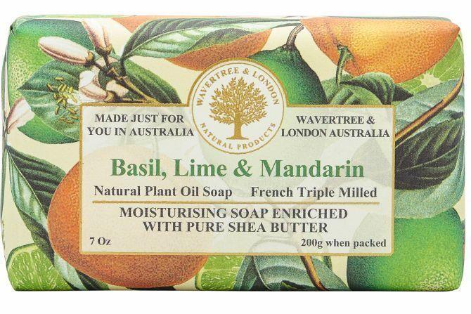 WAVERTREE&LONDON- Basil, Lime & Mandarin Soap Bar (enriched w. pure sheabutter-200g/7oz