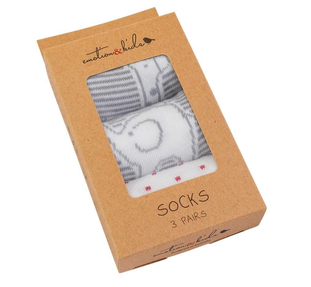 EMOTION & KIDS-Grey & White Safari Socks 3 Pack (3-6 Months)