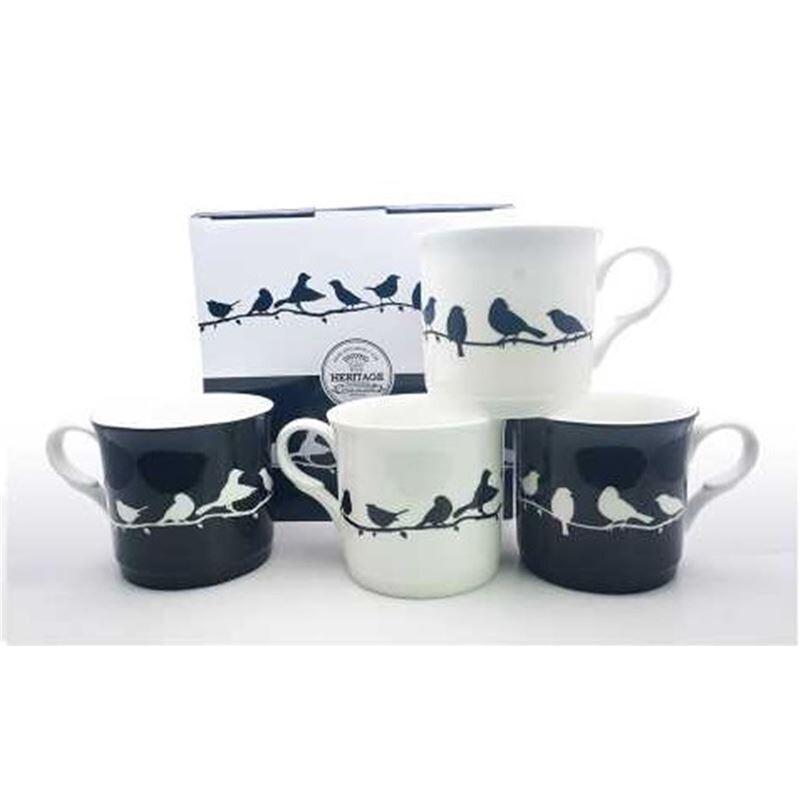 Heritage Fine Bone China Bird Silhouette Mug Set of 4