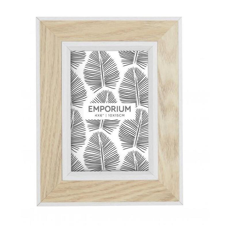 """Emporium Tazmin 4x6"""" Photo Frame Natural/White 10x15cm"""