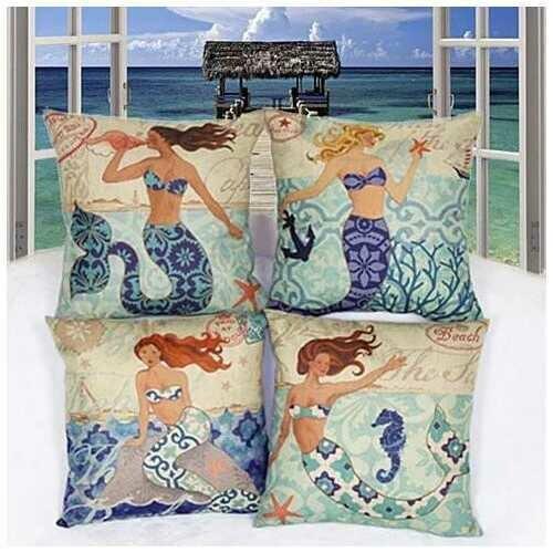 Moods Of A Mermaid Cushion Covers - Design: Mermaid And The Treasure