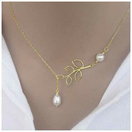 Pearls Of Joy Lariat Necklace In White Gold And Yellow Gold Plating -Style: 2 Pearl Lariat, Color: Yellow Gold