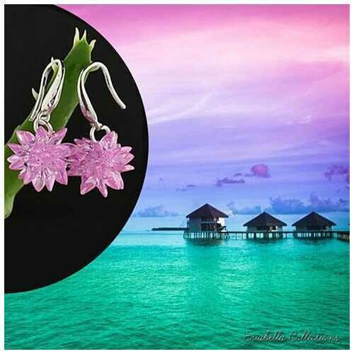 Bora Bora - The Exotic Flower Earrings - Handcrafted in Sterling Silver - Color: Black Magic