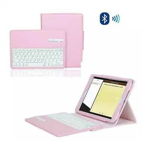 iPad Air 1 & 2 Case with Removable Bluetooth Keyboard - Color: Pink