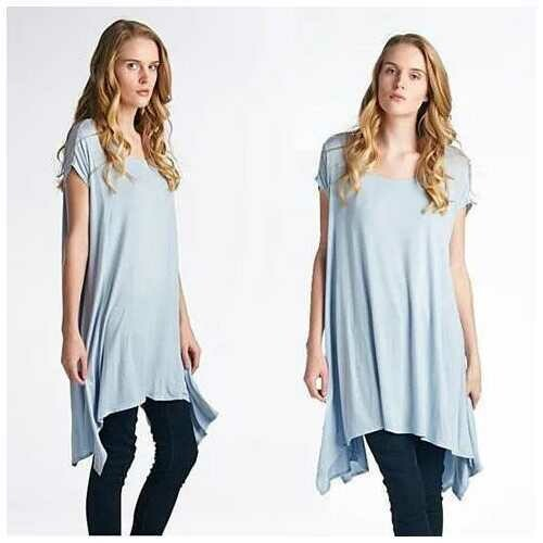 Butterfly Whisper Light Flowy Relaxed fit Round Neck Top Made in USA - Color: Navy