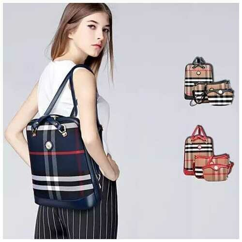 Posh And Cool Convertible 3 in 1 Backpack in Plaid - Color: Red - Tan