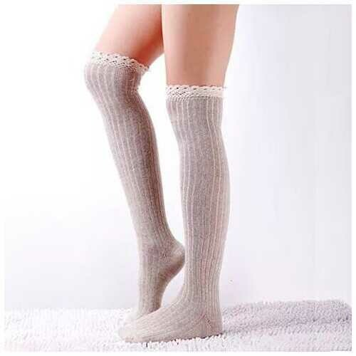 Crochet Cuteness Knee High Socks - Color: Mocha Brown