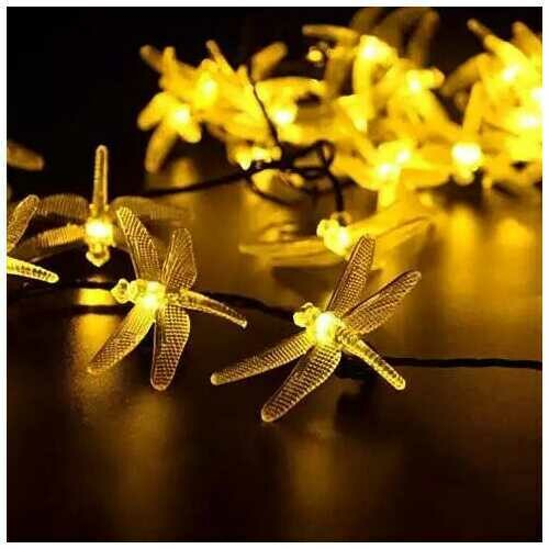 Solar Powered DragonFly LED Light String - Style: Warm Yellow