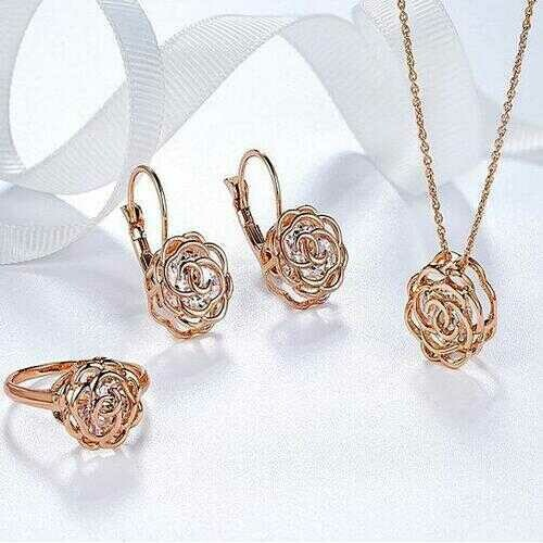 Rose Is A Rose Set Of Ring,Earrings and Pendant With Chain In 18kt Rose Crystals In White Yellow And Rose Gold Plating -COLOR: ROSE GOLD, Size: SIZE-7