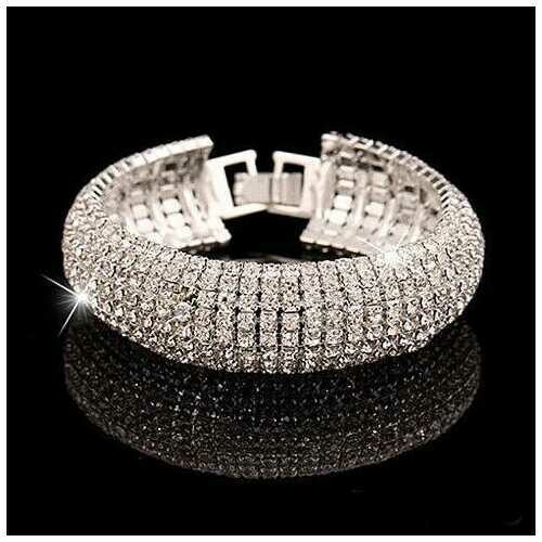Glamour Girl Crystal Bangle Cuff Bracelet - Color: Silver Polished